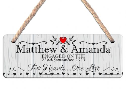 Personalised Engagement Hanging Sign N15 Wall or Door Plaque